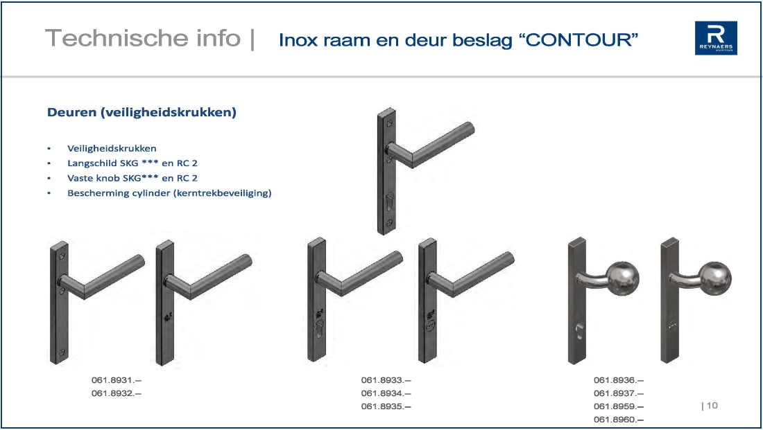 inox raam-en deurkrukken contour