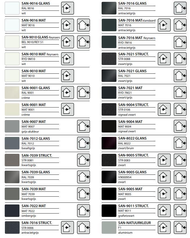 Invisivent kleurengamma santens
